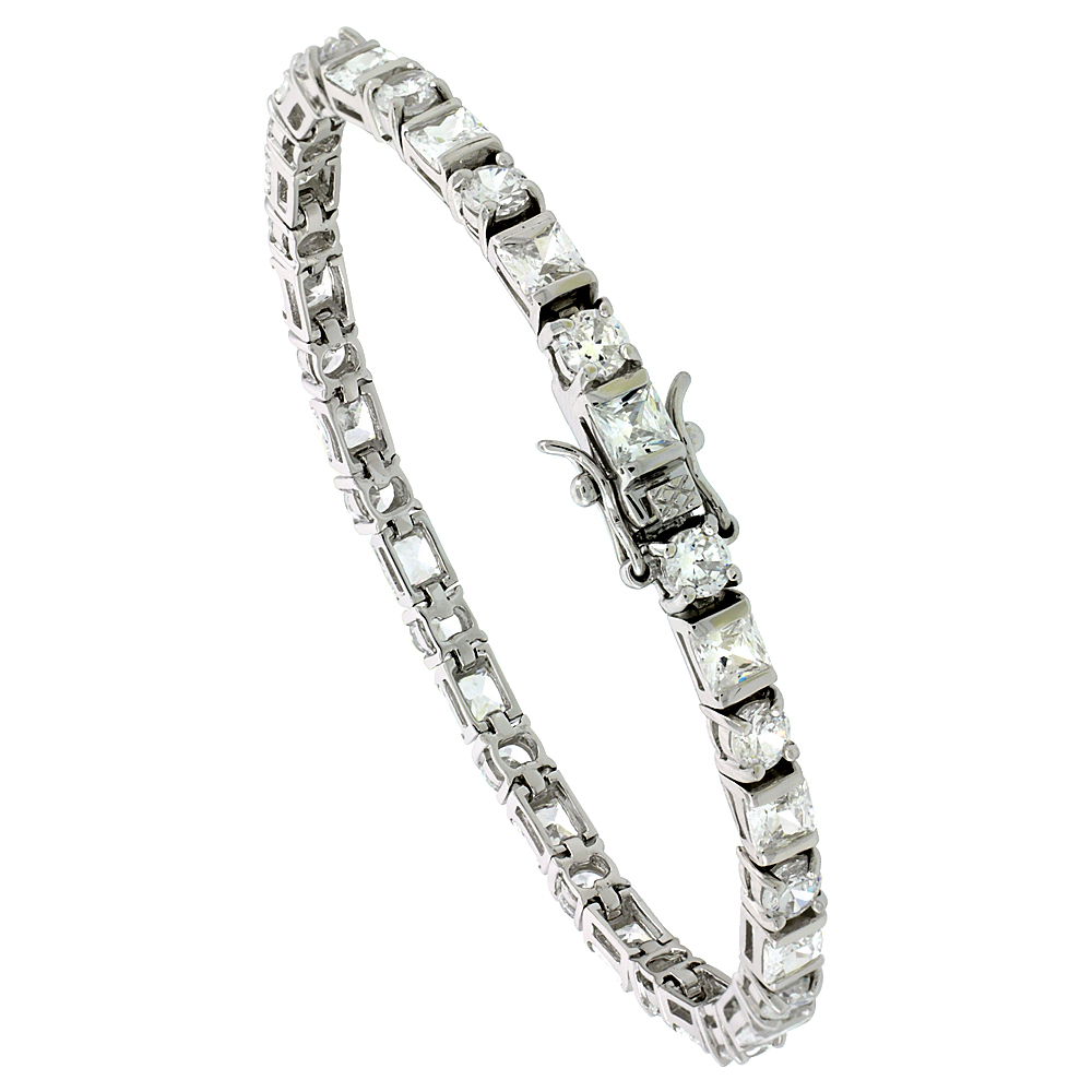 Sterling Silver Tennis Bracelet Cubic Zirconia Stones Rectangular & Round Shape Alternating, Rhodium Finish, with Hidden safety