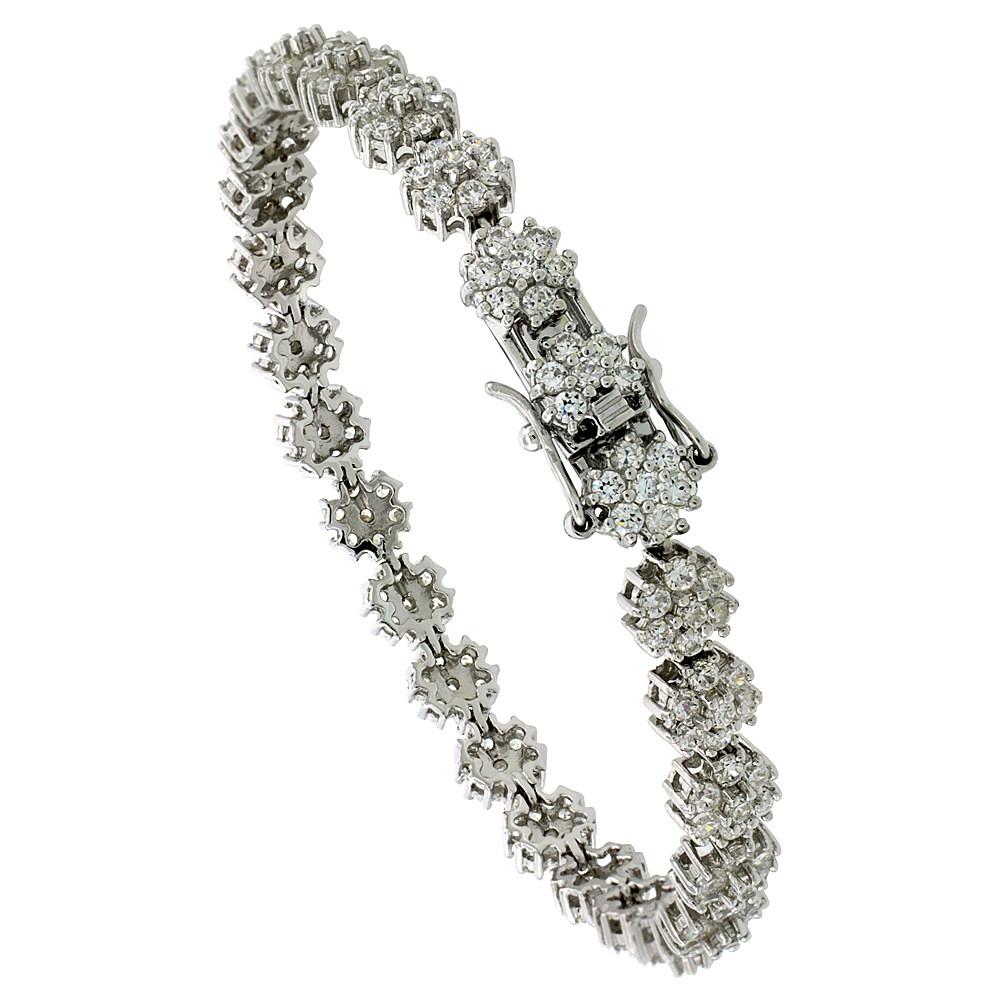 Sterling Silver Tennis Bracelet Cubic Zirconia Stones Flower Design, Rhodium Finish, with Hidden safety clasp, 7 inches