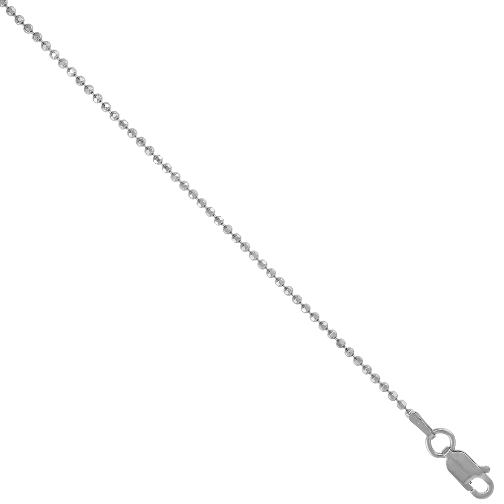 Sterling Silver Faceted Pallini Bead Ball Chain Necklace 1.5mm Rhodium finish Nickel Free Italy, 18 inch