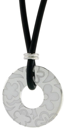 Sterling Silver Floral Round Disc Pendant on Rubber Necklace White Enamel, 20 inches long