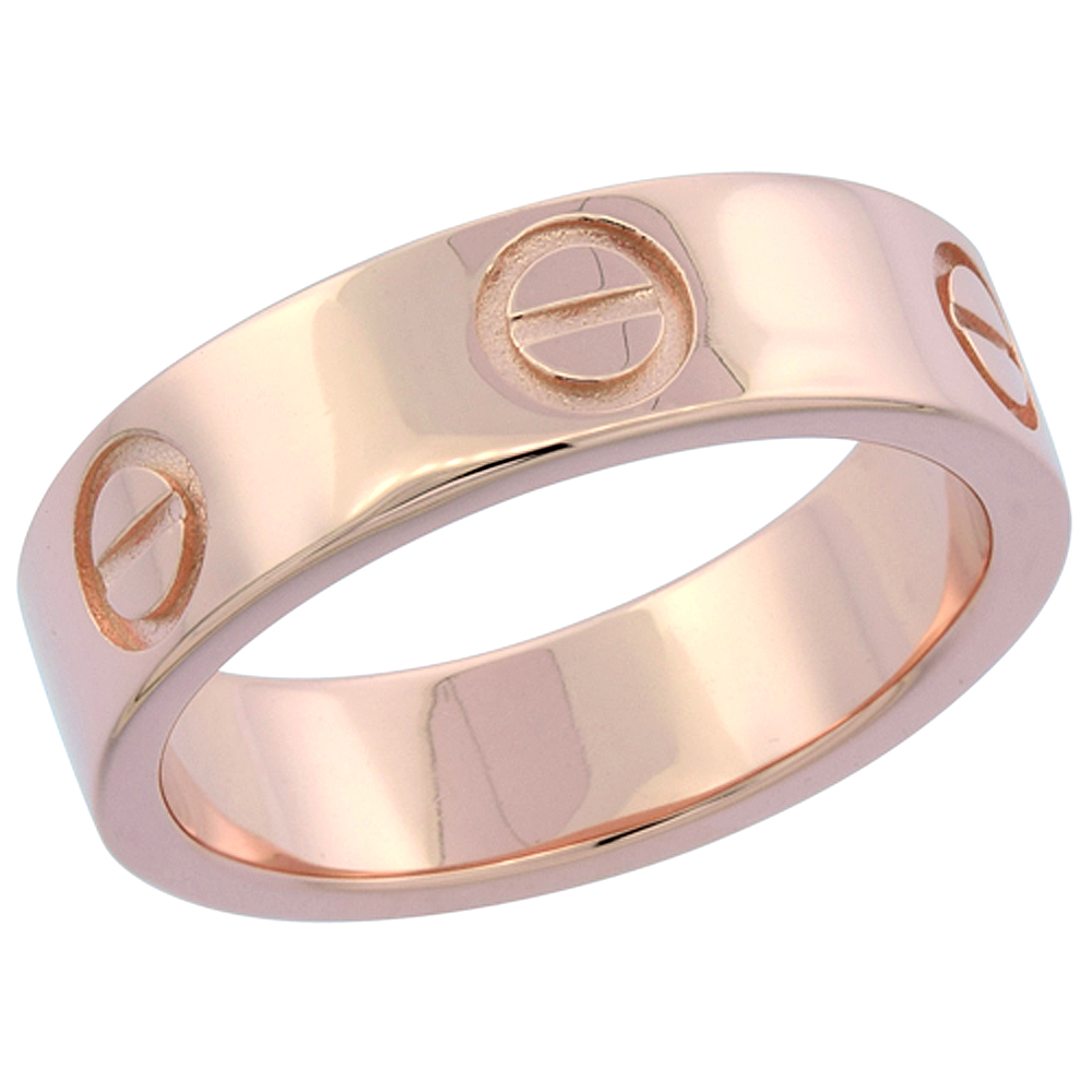 Sterling Silver Screw Design Wedding Band Ring Rose Gold Finish, 7/32 inch wide, sizes 6 - 9