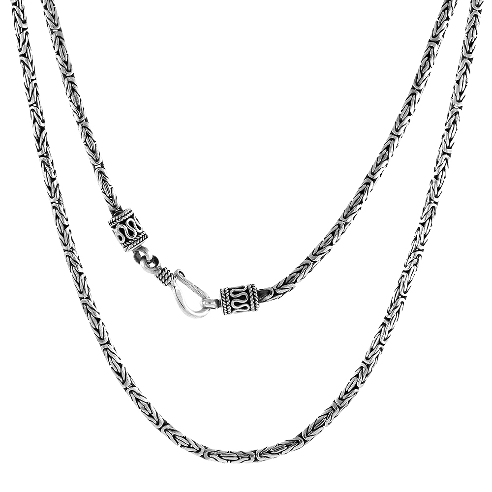 2.5mm Sterling Silver Round BYZANTINE Chain Necklaces & Bracelets 2.5mm Antiqued Finish Nickel Free 7-30 inch
