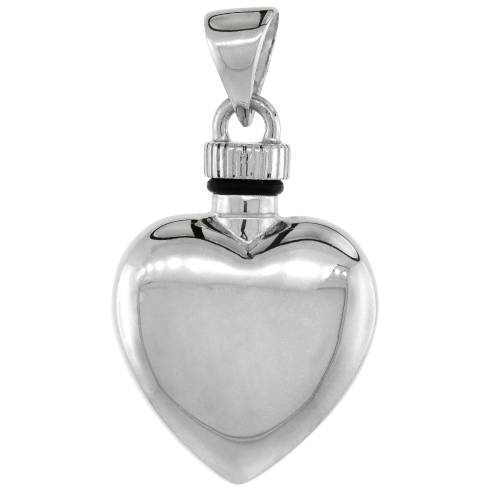 Sterling Silver Heart Perfume/Urn Ash Screw-on Pendant, 7/8 inch wide