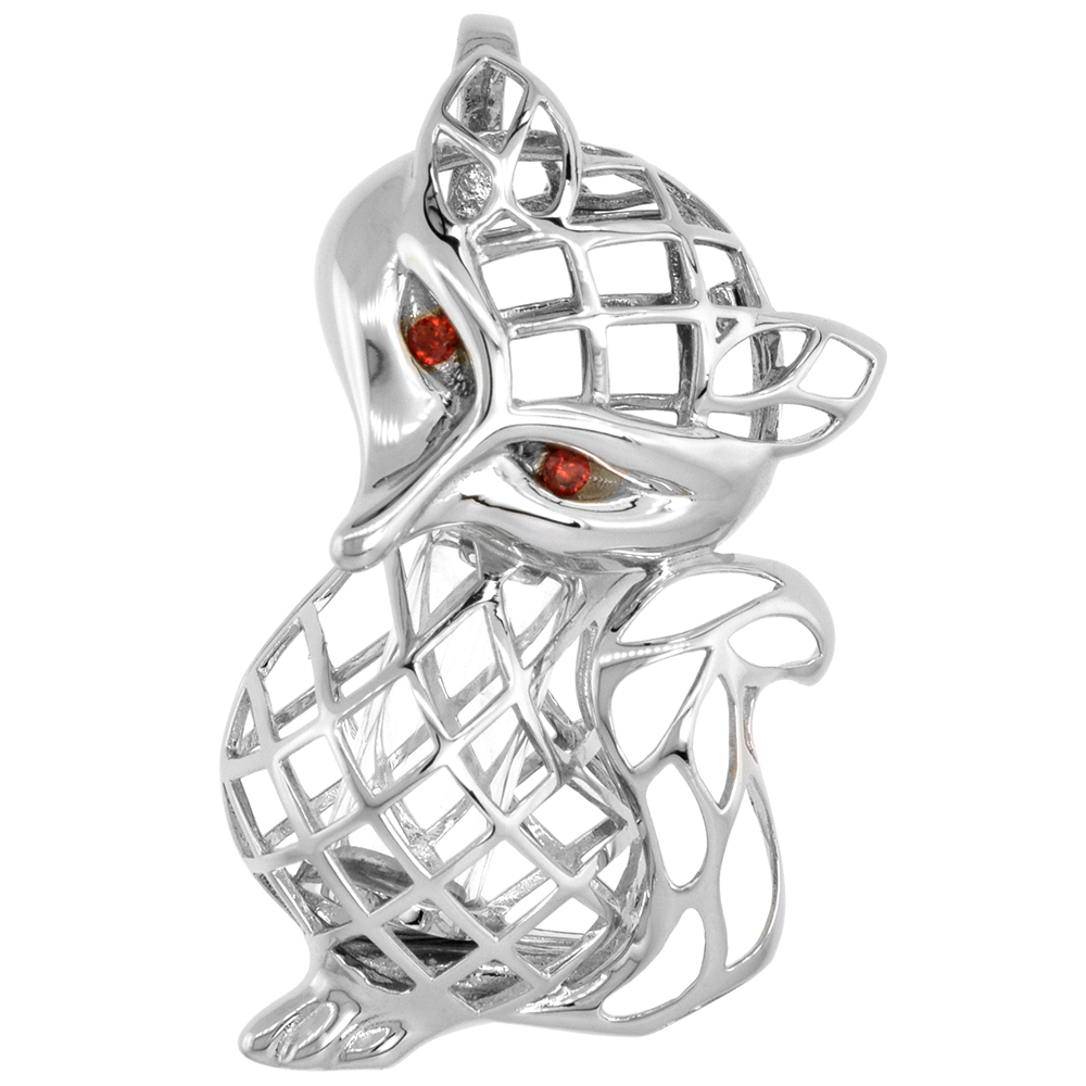 Sterling Silver Prayer Box / Urn Pendant Fox Motif Red CZ Eyes Rhodium Finish, 1 5/8 inch