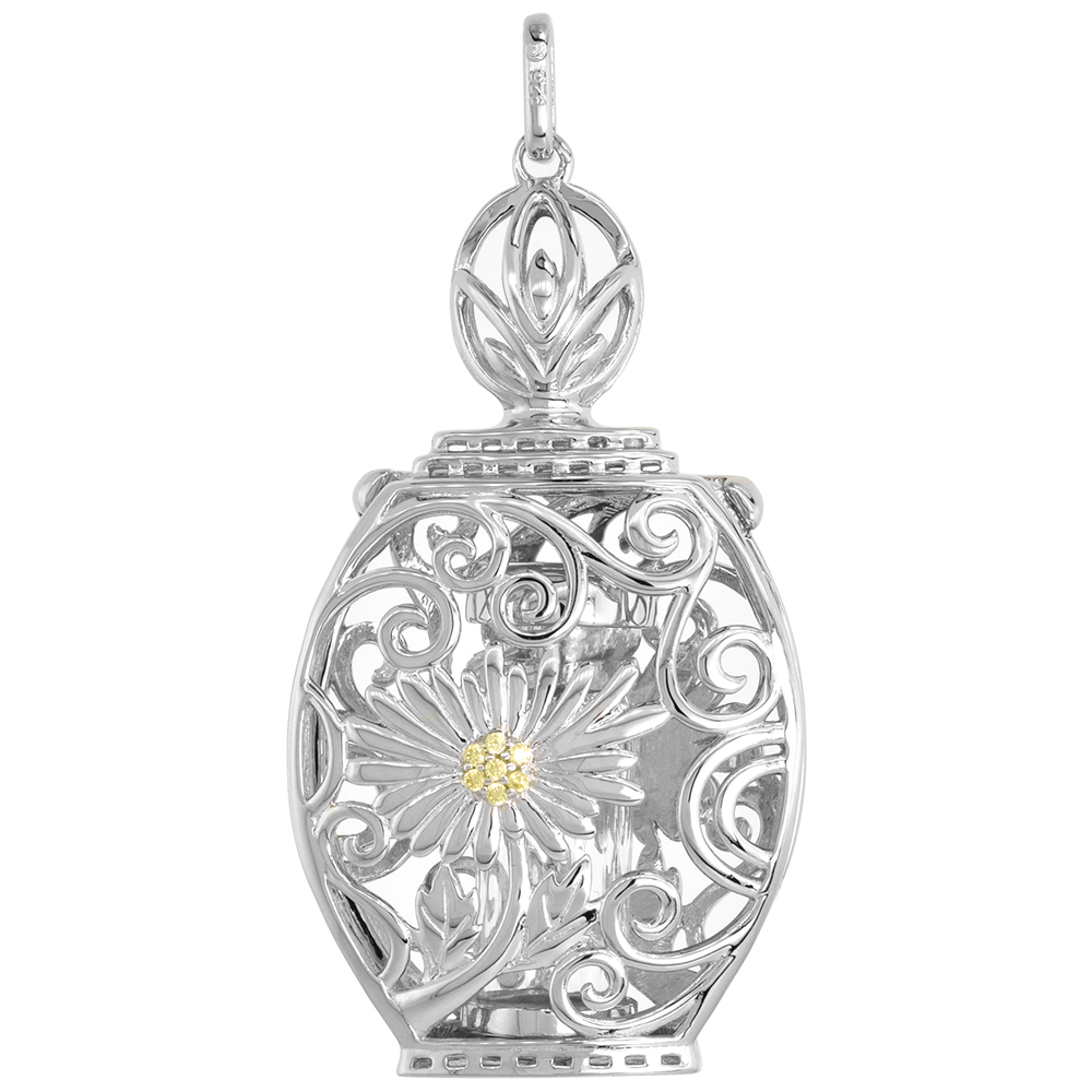 Sterling Silver Prayer Box / Urn Pendant Daisy Flower Yellow CZ Rhodium Finish,1 5/8 inch
