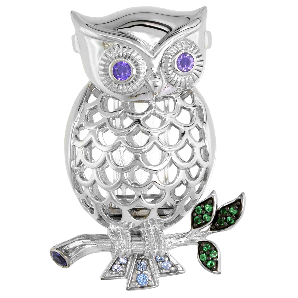 Sterling Silver Prayer Box / Urn Pendant Owl Perching Green Blue Purple CZ Rhodium Finish, 1 3/8 inch