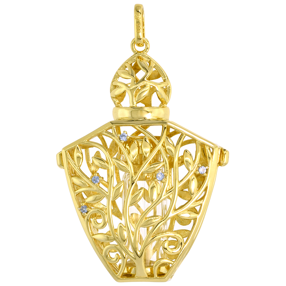 Sterling Silver Prayer Box / Urn Pendant Vine Branch Motif Blue CZ Gold Plated, 1 7/16 inch