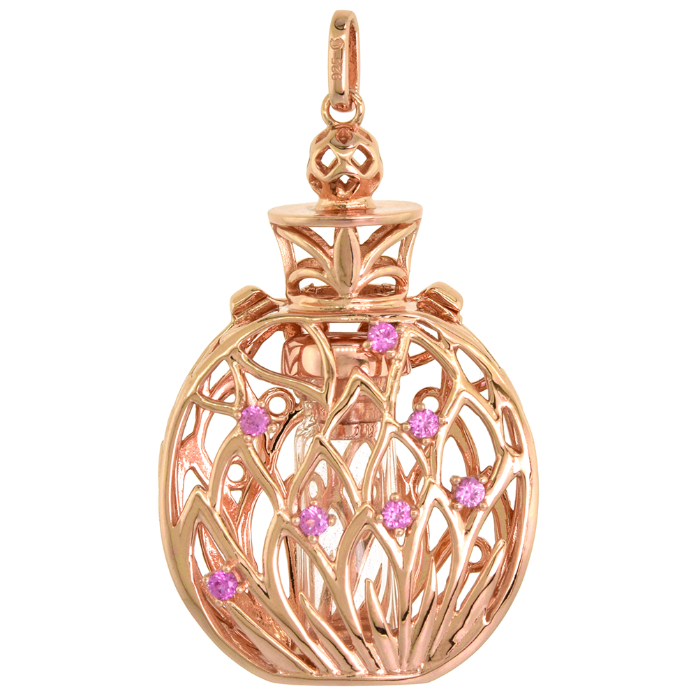Sterling Silver Prayer Box / Urn Pendant Lotus Flower Pink CZ Rose Gold Finish, 1 7/16 inch