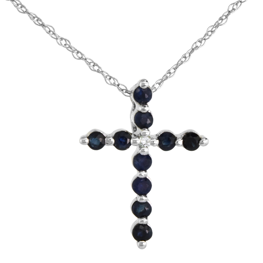 Tiny 14k White Gold Blue Sapphire Cross necklace for Women Diamond Accent 5/8 Inch tall with 18 inch Thin Chain