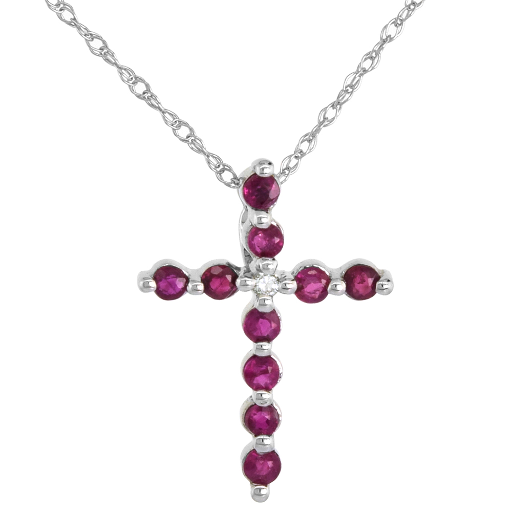 Tiny 14k White Gold Ruby Cross Necklace for Women Diamond Accent 5/8 Inch tall with 18 inch Thin Chain