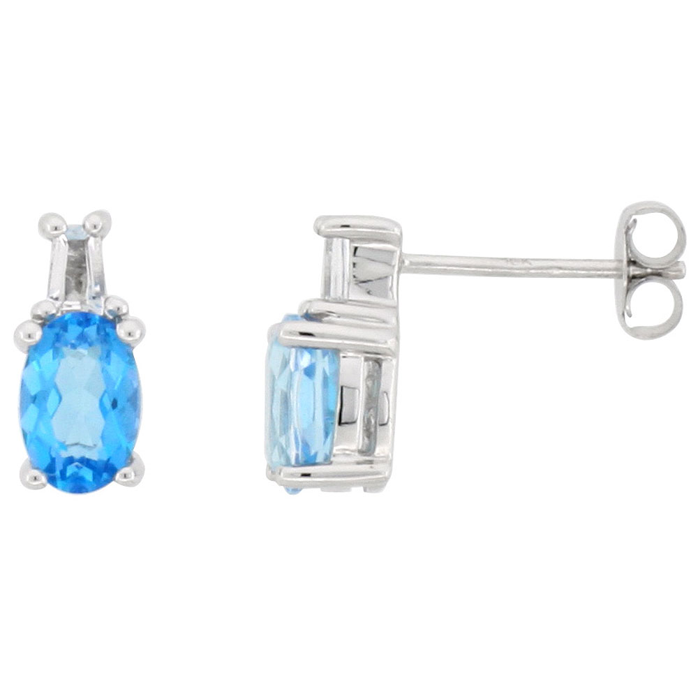 Dainty 10k White Gold Natural Blue Topaz Stud Earrings December Birthstone White Topaz accent 3/8 inch
