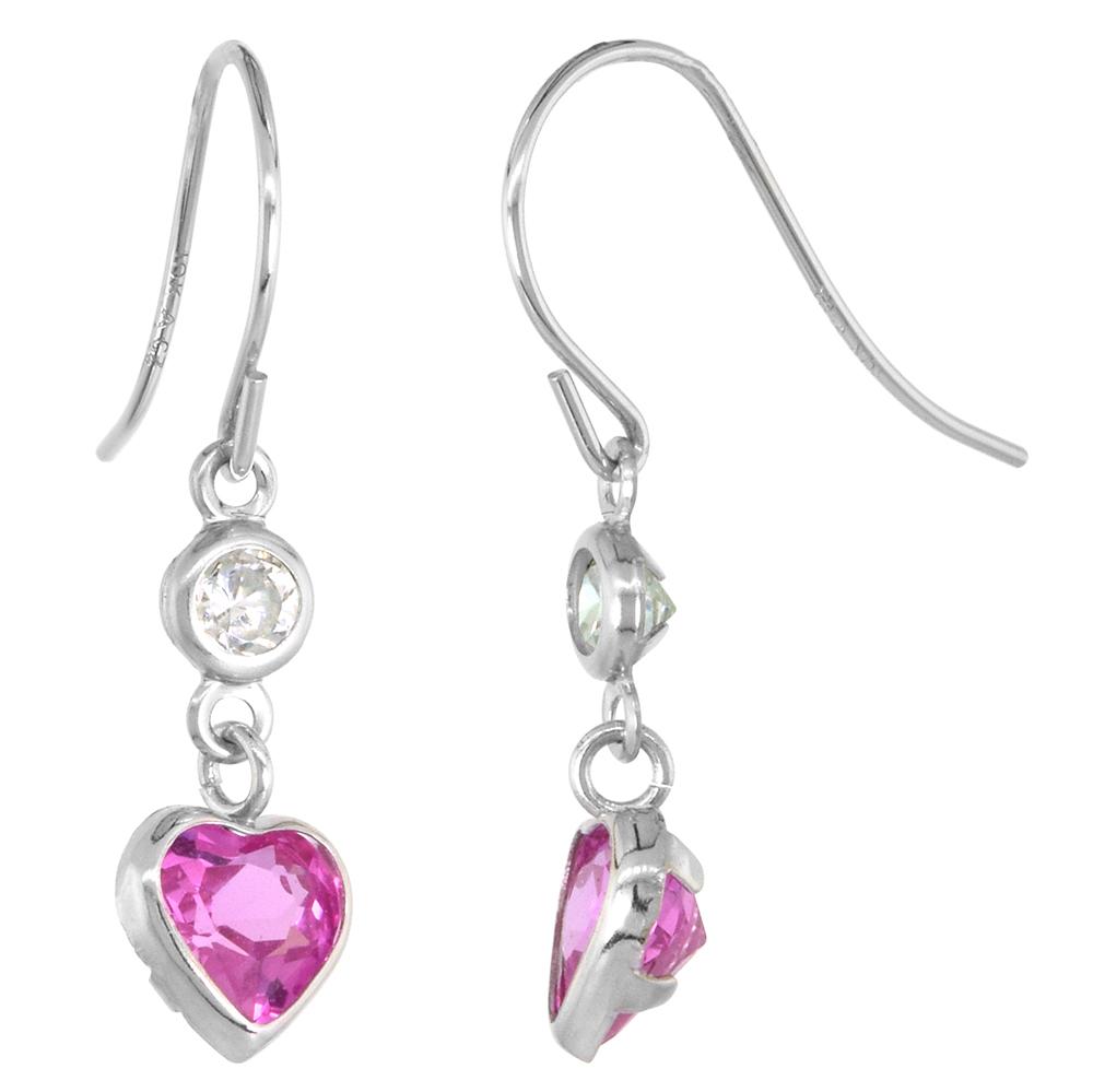 Dainty 10k White Gold Pink Topaz Heart Dangle Earrings for Girls White Sapphire Accent Fishhook, 7/8 inch