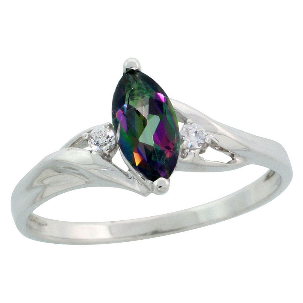 Dainty 10k White Gold Mystic Topaz Ring for Women and Girls Marquise Cut CZ Accent 3/8 inch