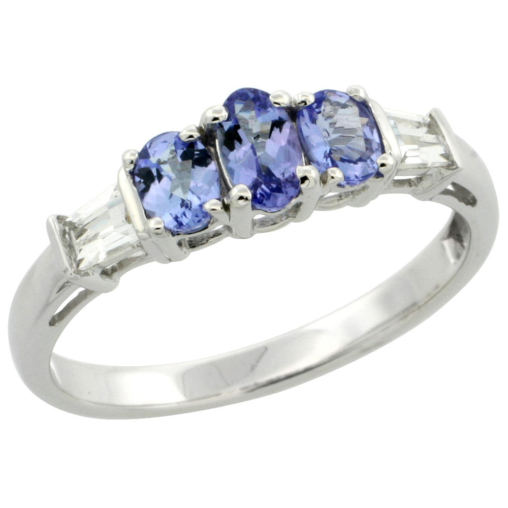 Dainty 10k White Gold Natural Tanzanite Ring 3-stone Oval with Baguette White Sapphire Accent, size 5-9