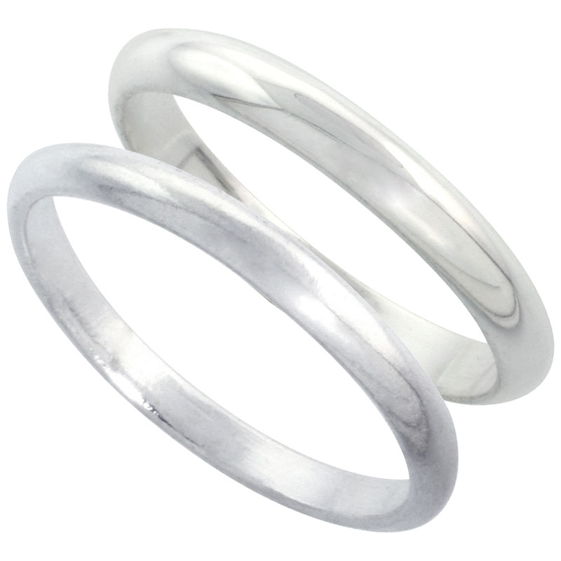Sterling Silver High Dome Wedding Band Ring Set his and Hers 2 mm sizes 4 - 9.5 + 3 mm: sizes 4 - 13.5