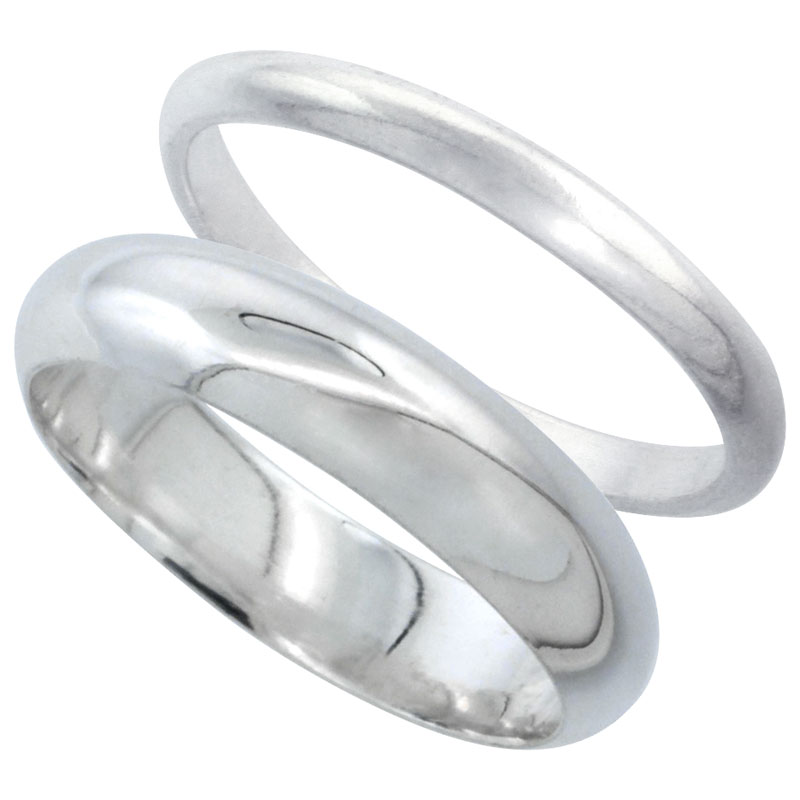 Sterling Silver High Dome Wedding Band Ring Set his and Hers 2 mm sizes 4 - 9.5 + 5 mm-sizes 4 - 13.5