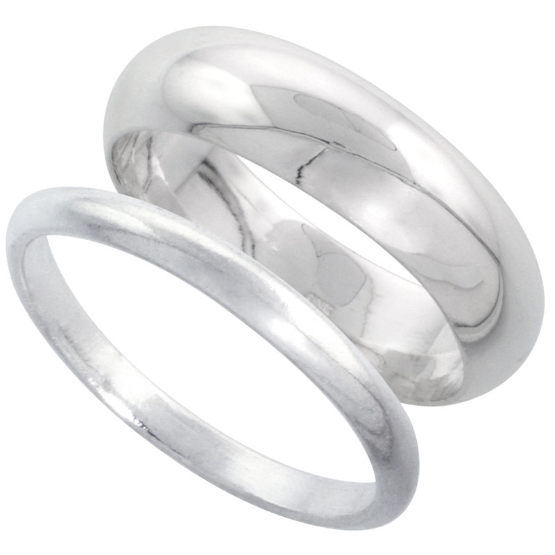 Sterling Silver High Dome Wedding Band Ring Set his and Hers 2 mm sizes 4 - 9.5 + 6 mm-sizes 4 - 13.5