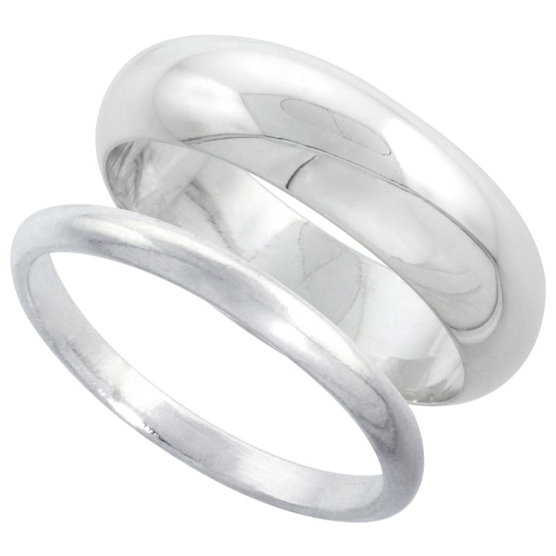 Sterling Silver High Dome Wedding Band Ring Set his and Hers 2 mm sizes 4 - 9.5 + 7 mm-sizes 4 - 13.5