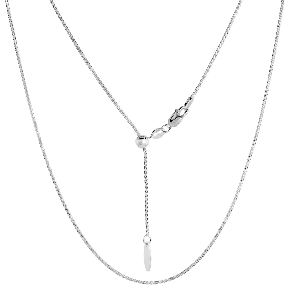 Sterling Silver Adjustable Spiga Wheat Chain Necklace 1.2 mm Nickel Free Italy, 22 inch