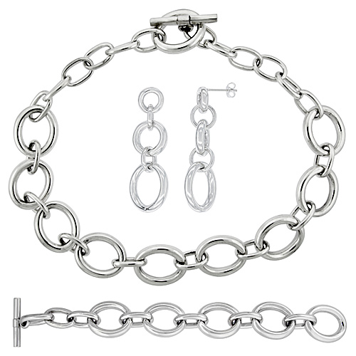 Sterling Silver Oval Hollow Links Earrings, Necklace and Bracelet Set