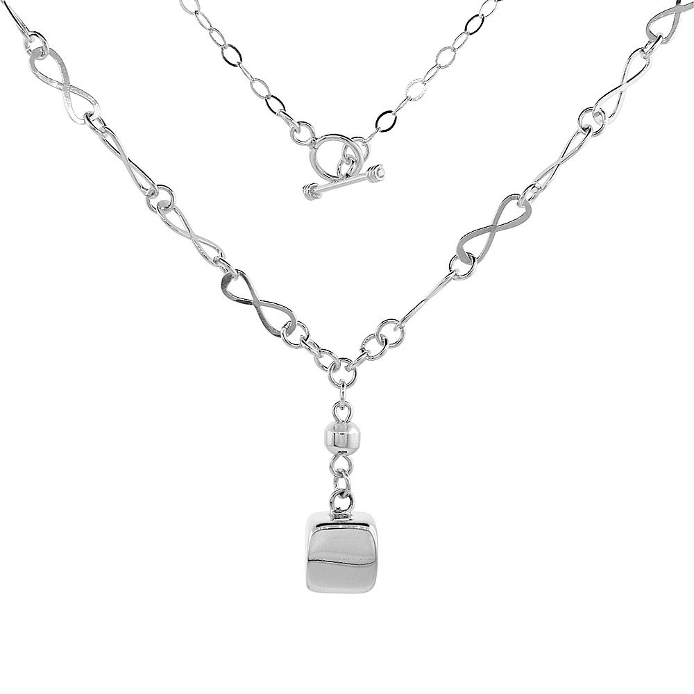 Sterling Silver Cube Toggle Necklace Eternity Link, 21 inch long