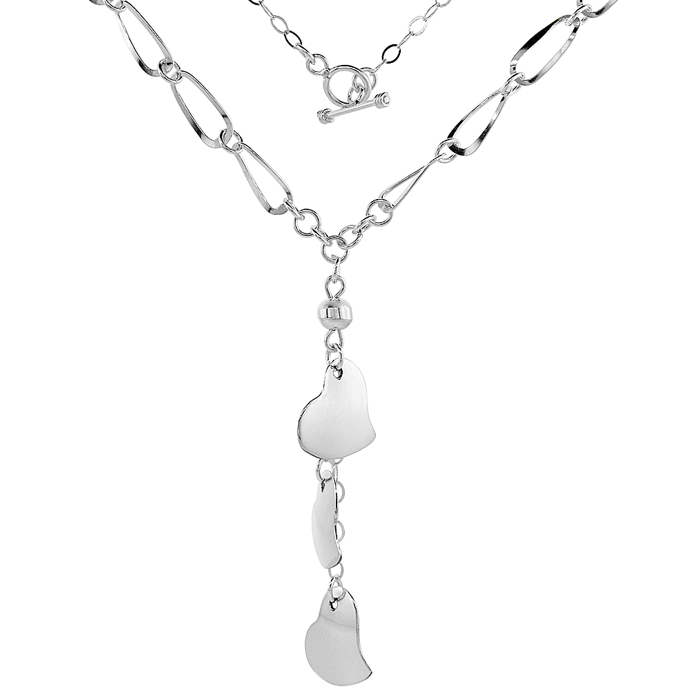 Sterling Silver Three Hearts Toggle Necklace Oval Link, 22 inch long