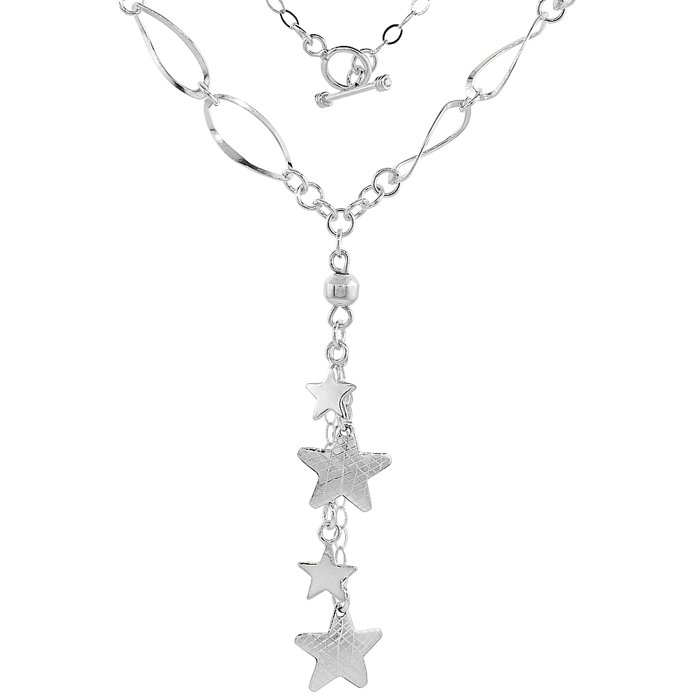 Sterling Silver Cascade Stars Toggle Necklace Rhombus Link, 22 inch long