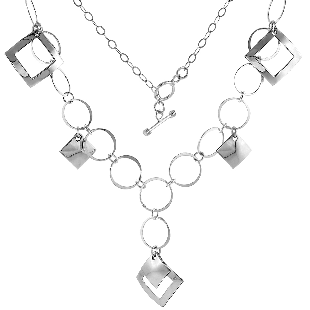 Sterling Silver Geometric Square Toggle Necklace Round Link, 20 inch long