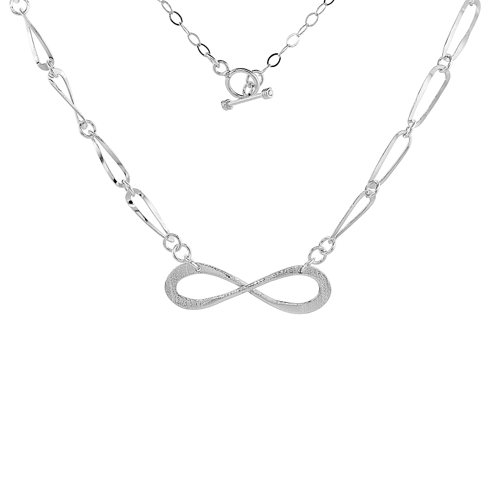 Sterling Silver Eternity Toggle Necklace Long Oval Link, 18.5 inch long