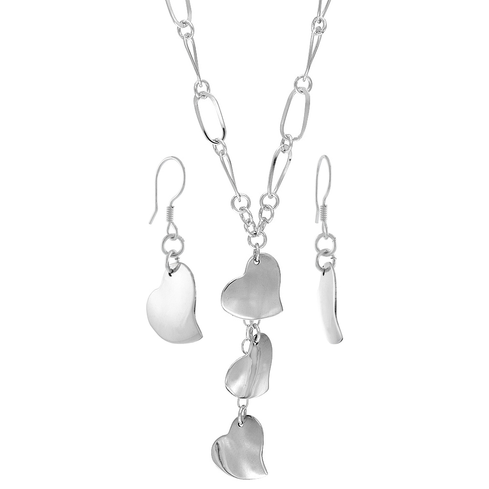 Sterling Silver Plain Hearts Toggle Necklace and Earring Set