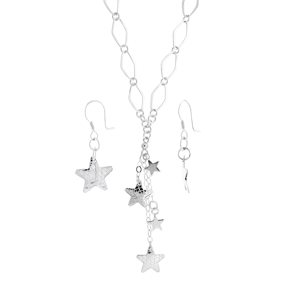 Sterling Silver Stars Toggle Necklace and Earring Set