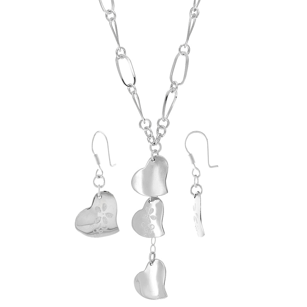 Sterling Silver Embossed Hearts Toggle Necklace and Earring Set