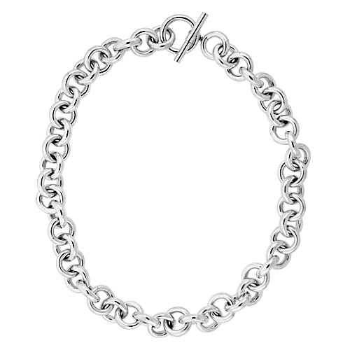 Sterling Silver Circles Hollow Toggle Necklace, 20 inches long