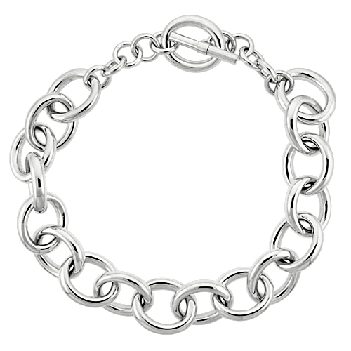 Sterling Silver Oval Links Hollow Toggle Necklace, 20 inches long