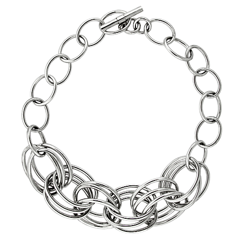 Sterling Silver Triple Circle Links Hollow Toggle Necklace, 20 inches long