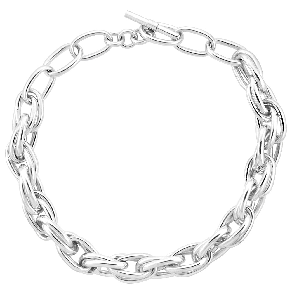 Sterling Silver Double Oval Link Hollow Toggle Necklace, 20 inches long