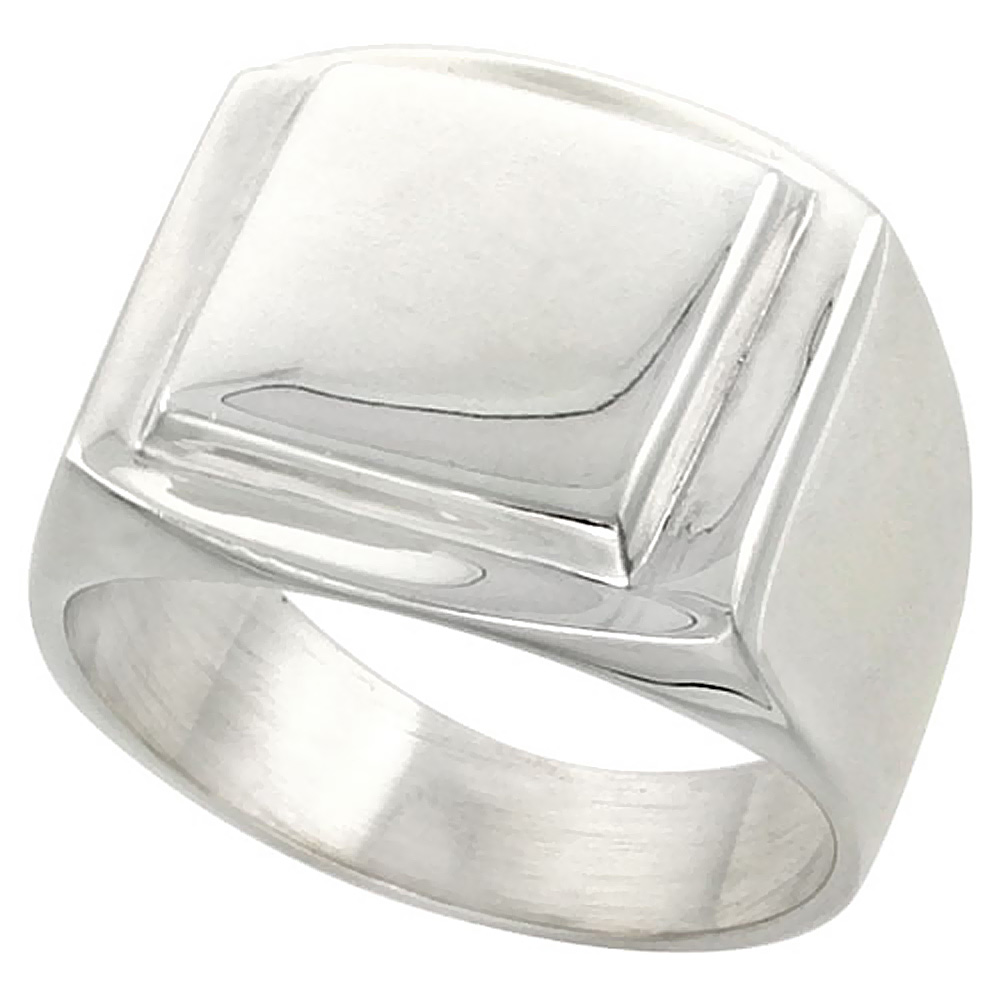 Sterling Silver Large Square Signet Ring for Men Solid Back Handmade 3/4 inch, sizes 9 - 13