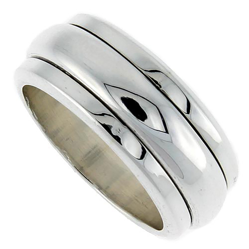 10mm Sterling Silver Mens Spinner Ring Narrow Domed Handmade 3/8 inch wide,
