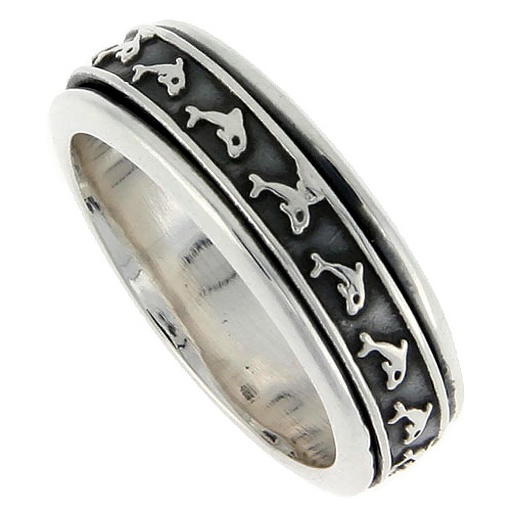 Sterling Silver Mens Spinner Ring Embossed Dolphin Pattern Handmade 5/16 wide,