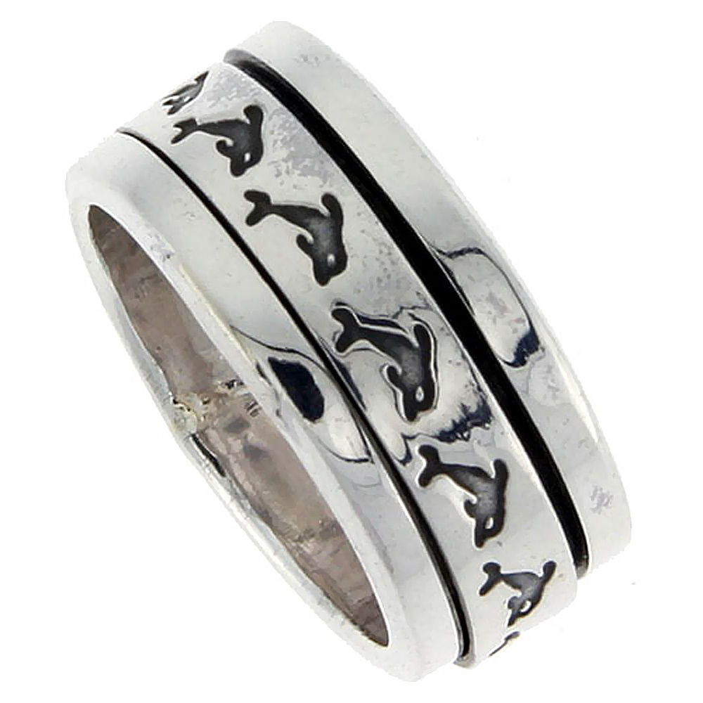 Sterling Silver Mens Spinner Ring Dolphin Pattern Flat Handmade 3/8 inch wide,