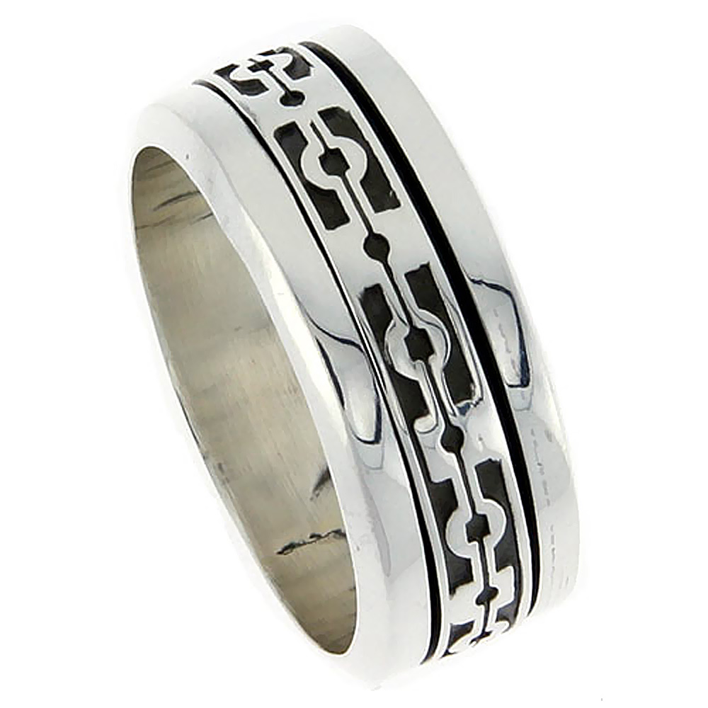 10mm Sterling Silver Mens Spinner Ring Native American Pattern Center Handmade 3/8 inch wide,