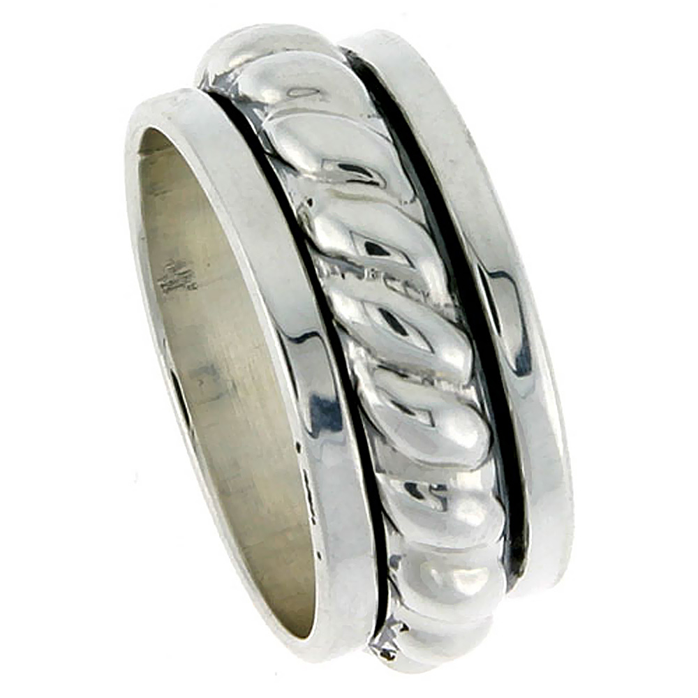 11mm Sterling Silver Mens Spinner Ring Thick Rope Center Handmade 7/16 Wide