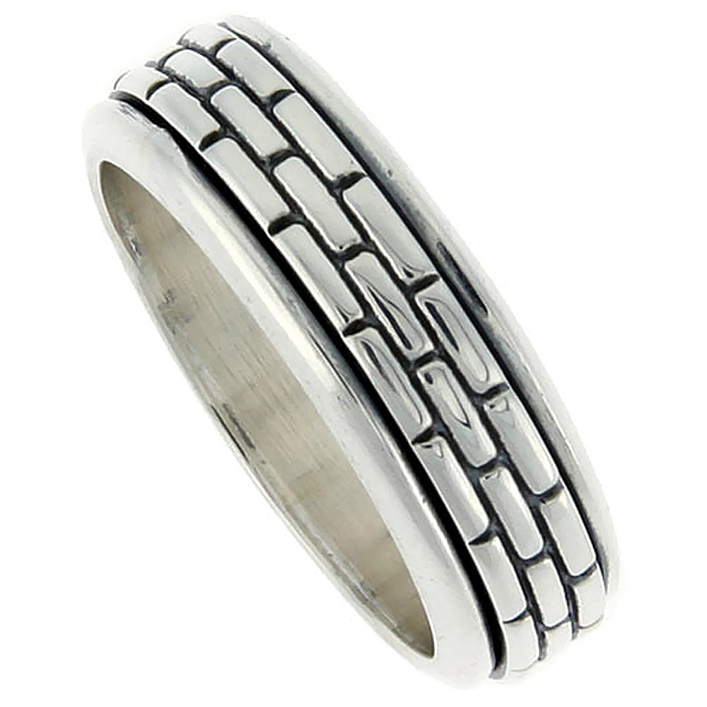8mm Sterling Silver Mens Spinner Ring Brick Pattern Center Handmade 5/16 wide,