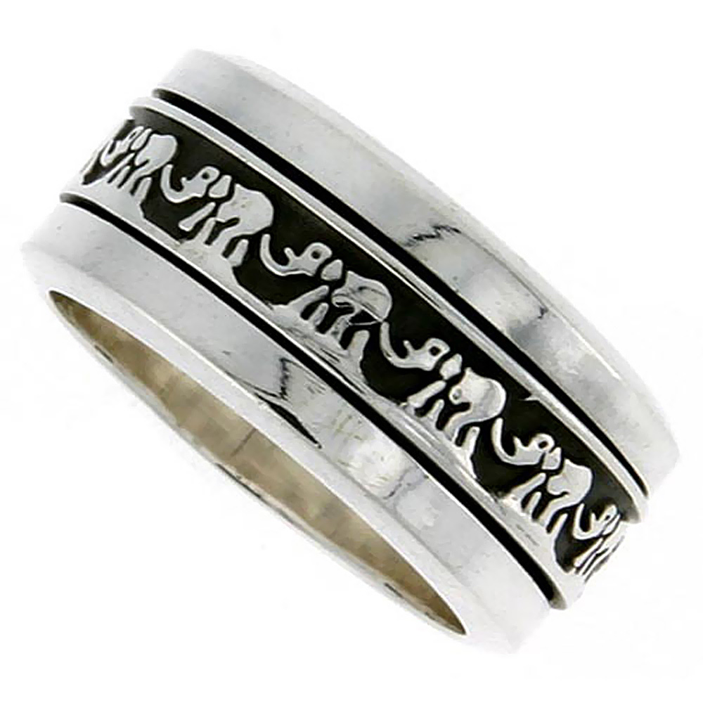Sterling Silver Mens Spinner Ring Good Luck Elephant Chain Pattern Handmade 3/8 inch wide,
