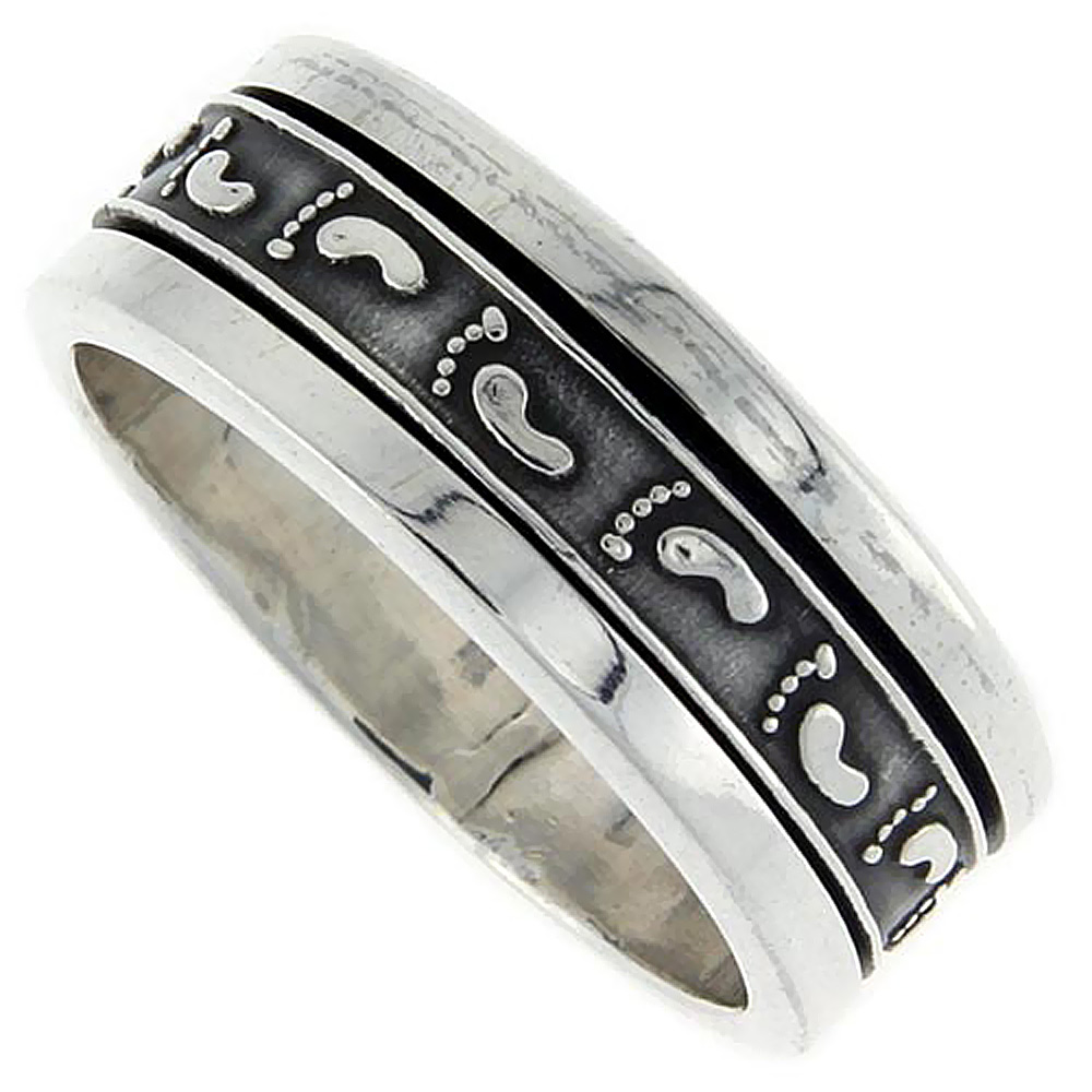 10mm Sterling Silver Mens Spinner Ring Footprints Pattern Embossed Handmade 3/8 inch wide,