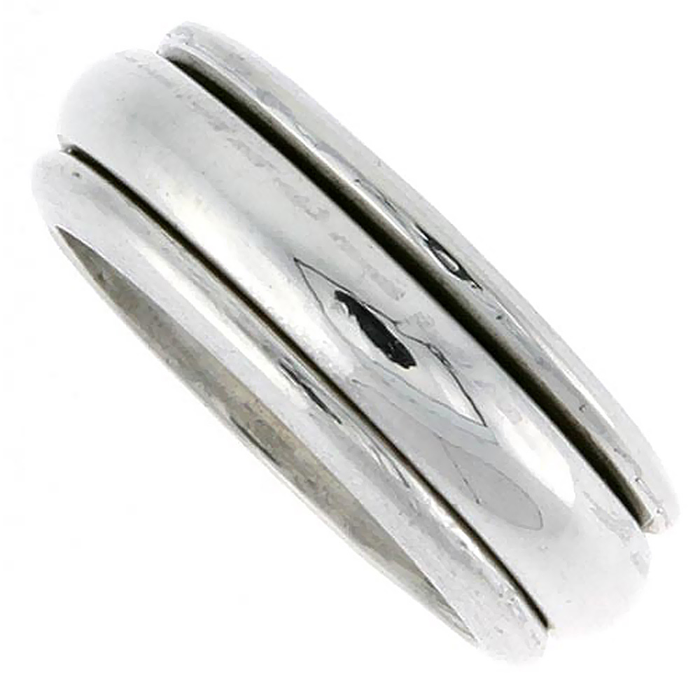 8mm Sterling Silver Mens Spinner Ring Domed Design Handmade 5/16 wide,
