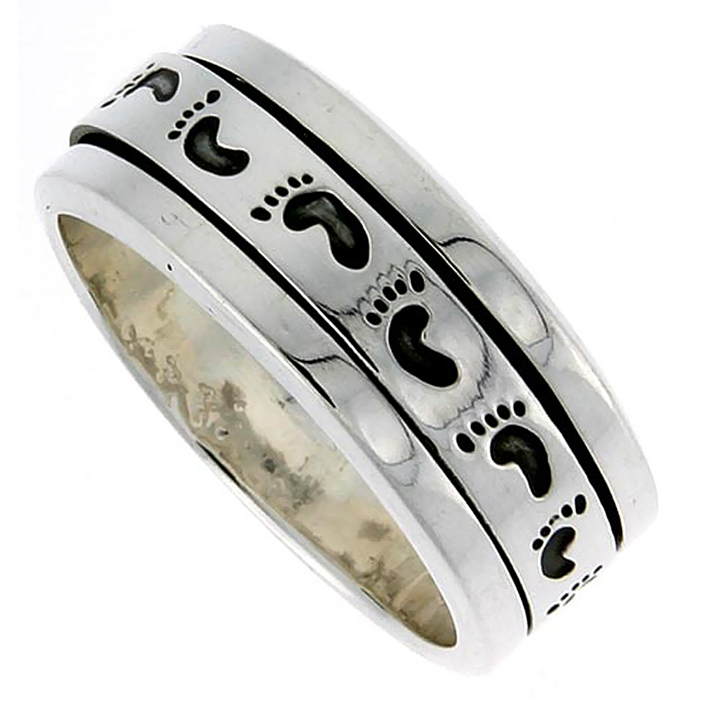 10mm Sterling Silver Mens Spinner Ring Footprints Pattern Handmade 3/8 inch wide,