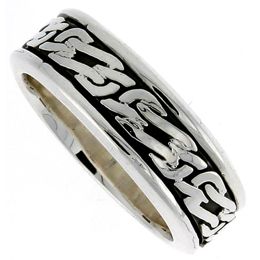 Sterling Silver Mens Spinner Ring Celtic Knot Design Handmade 5/16 wide,
