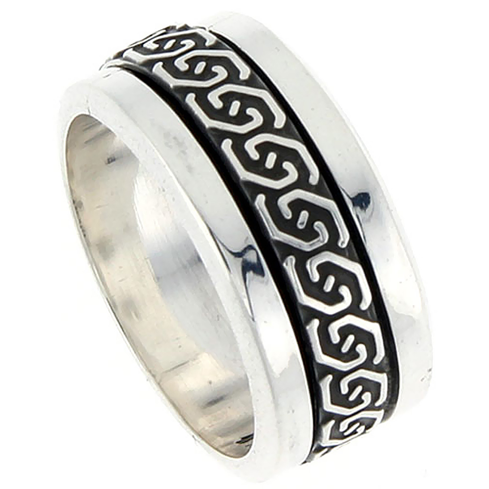 10mm Sterling Silver Mens Spinner Ring Celtic Knot Design Handmade 3/8 inch wide,