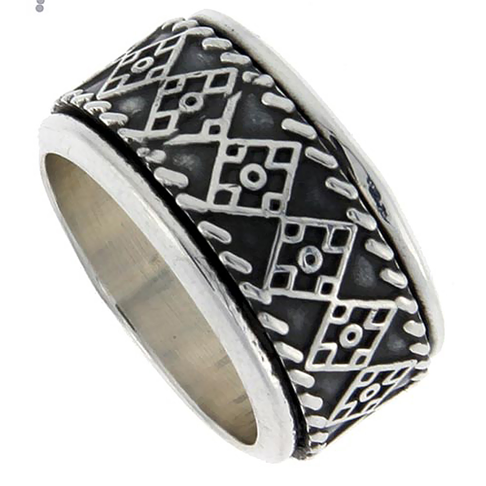 13mm Sterling Silver Mens Spinner Ring Quilt Design Handmade 1/2 inch wide,